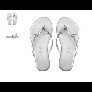 TKEES flip flops leather, silver sparkle size T4